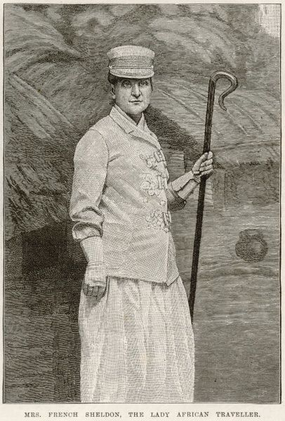 Engraving showing Mrs. Mary (May) French Sheldon (1847-1936), the American explorer and writer, pictured in 1891