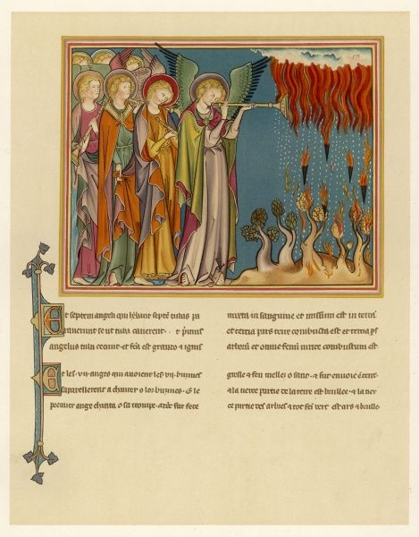 The Apocalypse - the seven angels blow their trumpets, fire falls from the sky - from a French manuscript