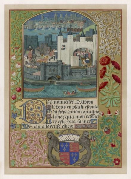 The Tower of London during the Captivity of Charles, duc d'Orleans, after Agincourt - from a manuscript of his poems