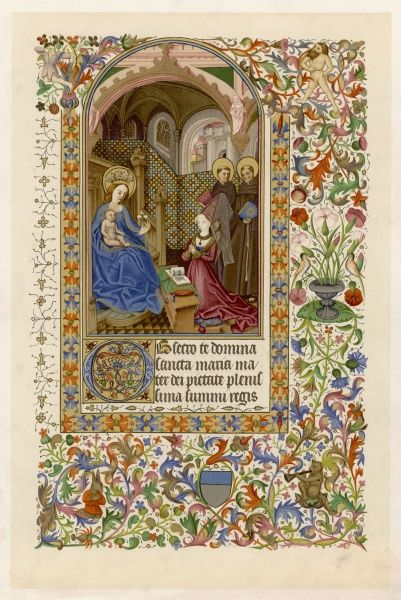 Page from a Piedmontese Book of Hours, showing Mary and Jesus with French noblewoman Amedee de Saluces for whom the book was made