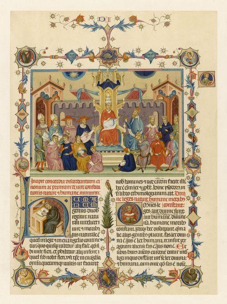 The Pope in council - illustration to the 'Decretum' of Gratian of Chiusi, a treatise on canon law