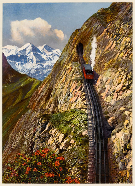 A steep stretch of the Pilatusbahn - the railway that takes you up Mount Pilatus, near Lucerne