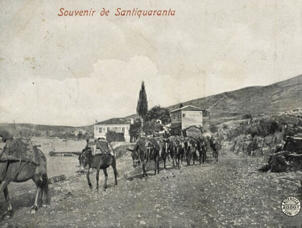 Mules being led from Santi Quaranta (now in Southern Albania) to Ioannina (Jannina) on the shore of Lake Ioannina