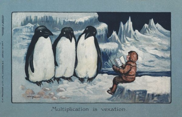 Three large penguins line up to be taught some mathematics by a strict little eskimo child