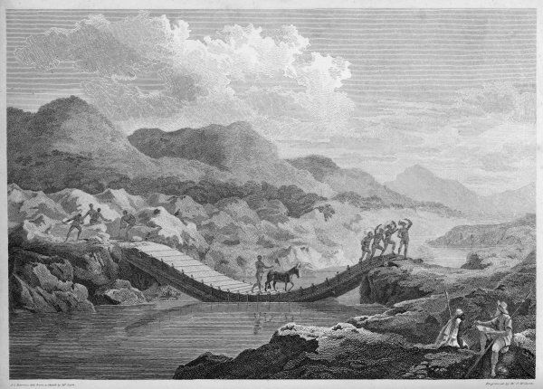 The Scottish explorer Mungo Park crossing the Black River (the Bafing), a tributary of the Senegal River, West Africa