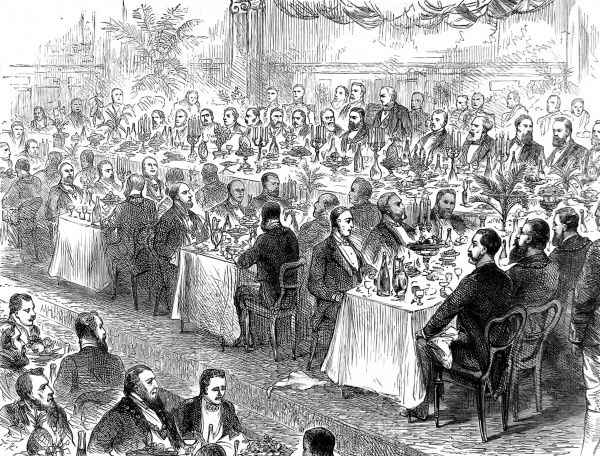 Engraving showing the Municipal Corporations Jubilee Banquet held at the Freemason's Tavern, 1885
