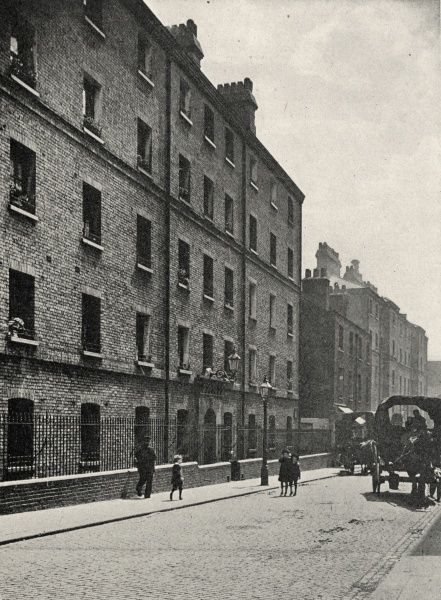 A block of municipal dwellings erected by London County Council near Leman Street in Whitechapel, in the East End of London