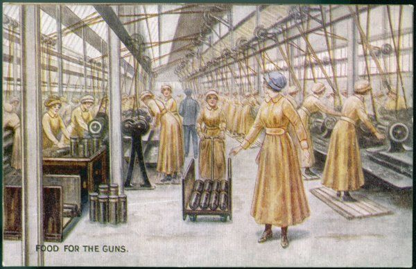 Women working in a British munitions factory during World War One