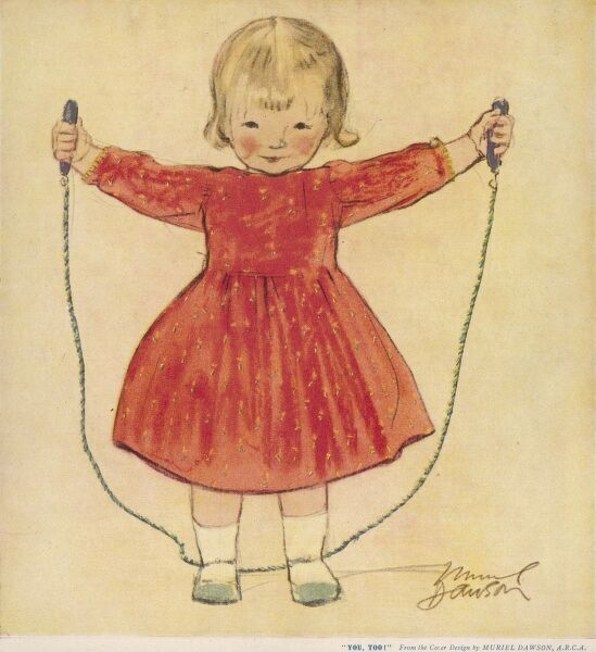 A sweet little girl in a red dress invites us to join her in a game of skipping