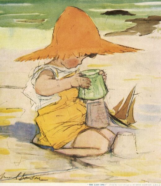 A little girl wearing dungaree shorts and an enormous sun hat is absorbed in the porcess of making sand castles on a beach