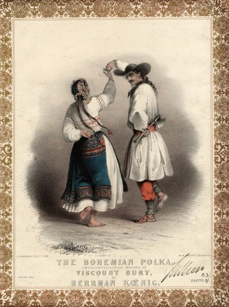 Music cover for The Bohemian Polka, composed by Herrman Koenig (1827-1898) and dedicated to Viscount Bury (later the 7th Earl of Albemarle). A Bohemian couple are depicted in traditional costume, dancing the polka