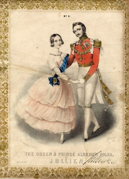Music cover for The Queen and Prince Albert's Polka, by Louis Antoine Jullien (1812-1860). Victoria and Albert are depicted early in their marriage, turned towards the viewer as they dance the polka. He is wearing red, white and gold uniform with a chain