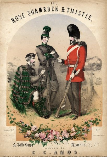 Music cover for The Rose, Shamrock and Thistle, a Rifle Corps Quadrille composed by C C Amos. Three riflemen are depicted, one Scottish, one Irish and one English
