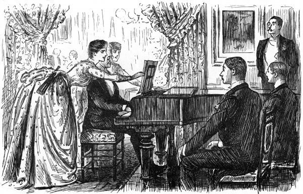 "An accomplished German man eclipses the other talent at an evening party, to the disgust of the watching Englishmen. ""Young Muller(from Hamburg)accompanies the Miss Goldmores in some of Rubenstein's lovely duets-to the envy and disgust of Brown"
