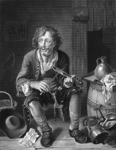 A ballad singer in rustic 18th century Holland. Date: 18th century