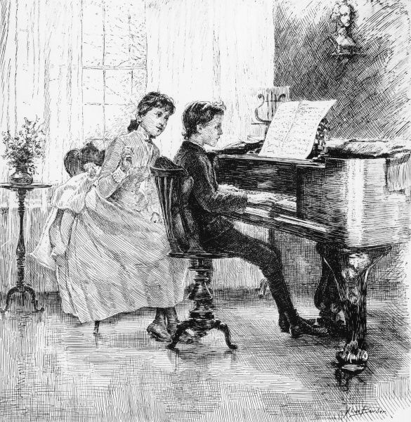 A boy plays the piano, while a girl sits to one side, possibly to offer advice as he plays. Date: 1888