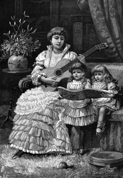 A woman seated on a couch plays the guitar whilst two little girls sing Christmas carols from a music book. Some holly and mistletoe in a vase complete the festive scene. 1885