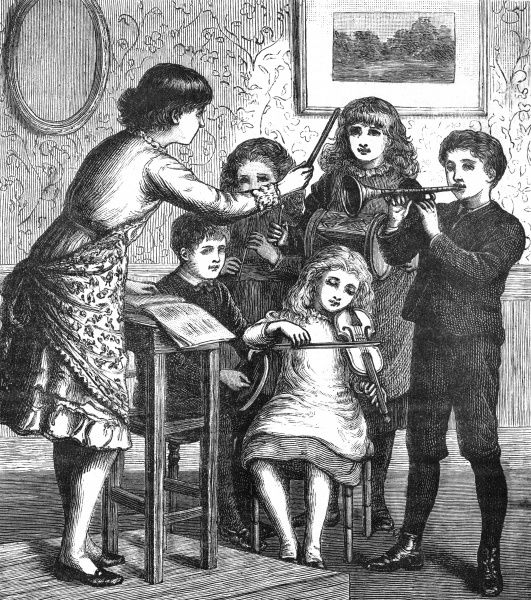 Children play at being an orchestra-a girl conducts a quintet of children on various musical instruments. c. 1870