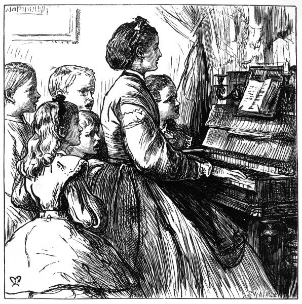 A mother and five children sing together round the piano, 1866. 1866