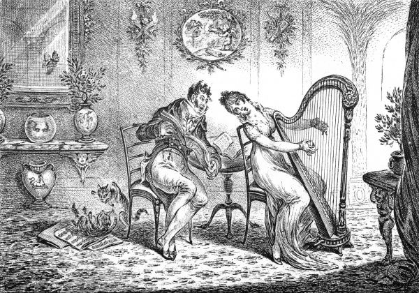 Harmony before matrimony, by James Gillray. A couple perform a duet de l'amour in a Georgian interior, whilst two cats play on the sheet music on the floor. Date: 1805