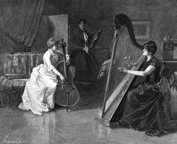 Three ladies play musical instruments together ina domestic setting. Date: 1886