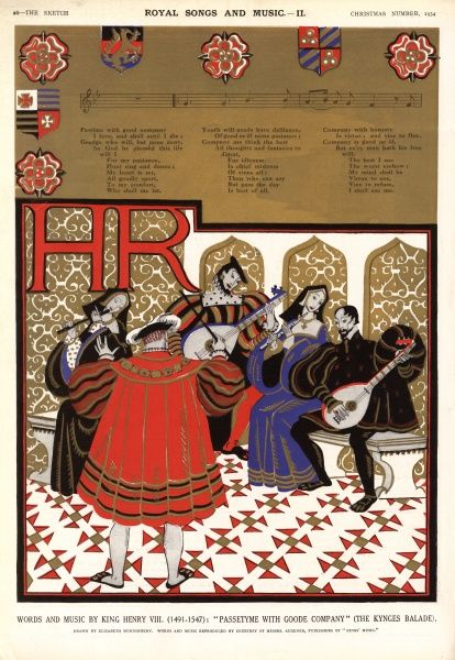 Music and lyrics written by King Henry VIII entitled Passetyme with Goode Company (The Kynges Balade) accompanied by a stylised illustration showing The King conducting a group of musicians. Date: 1934