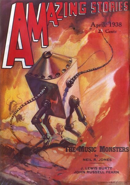 'THE MUSIC MONSTERS' (Neil R Jones) The 'machine-men' of Zorome are not robots, but artificial creatures with living organic brains to control them Date: 1938