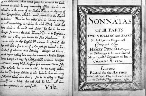 Sonata by Henry Purcell, 1683. Date: 1683