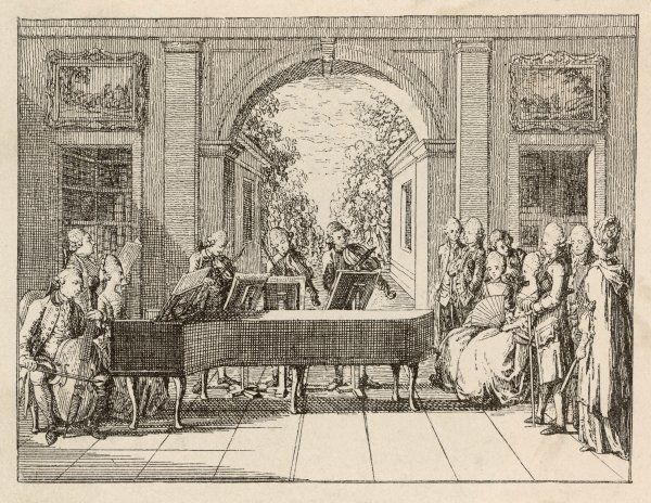 Five instrumental performers and a singer entertain an aristocratic audience in a stately home