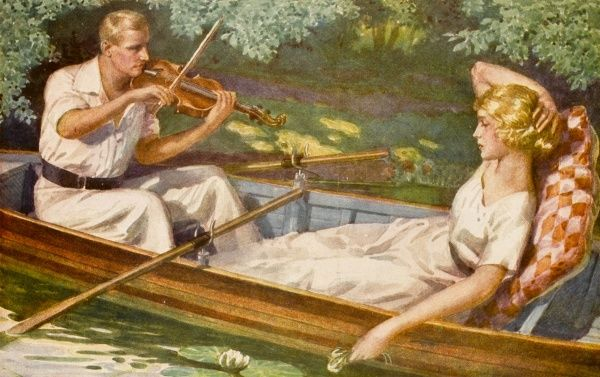 Being stranded in a boat on the river, this poor woman can find no escape from her lovers musical offering so she sits back resigned to an afternoon of violin playing