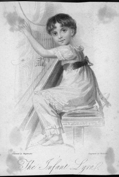The infant Lyra and her harp