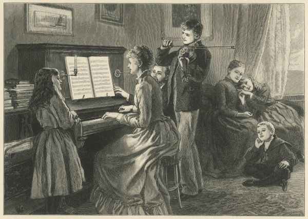 A peaceful family scene with a mother playing the piano, her son the violin, and her daughter leaning by the piano and watching