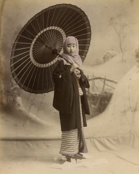Musume with parasol in Japan