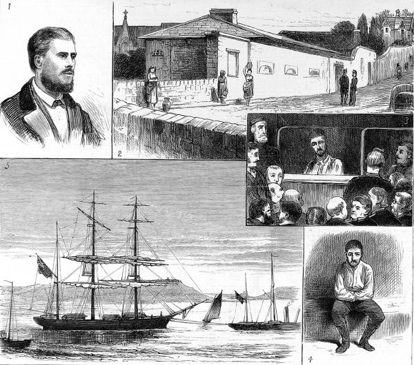 Engraving of a number of sketches of the Caswell Mutiny, which took place on the sailing ship 'Caswell' between Valparaiso and Queenstown, Ireland, March 1876
