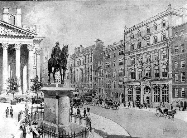 Illustration showing the exterior of the Mutual Life Insurance Company of New York Offices (on right) in Cornhill, London, 1900