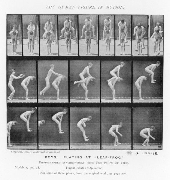 sequences of naked boys playing leapfrog
