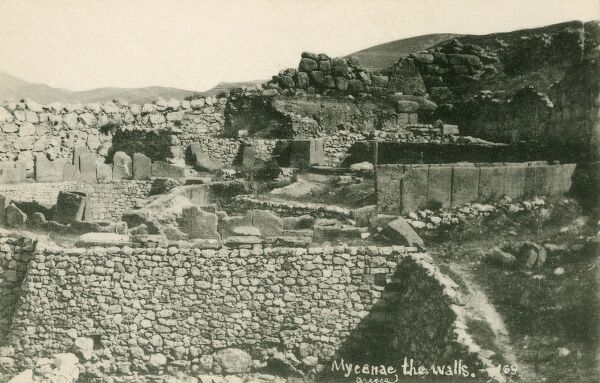 A view of the ruins of the Early greek city state of Mycenae, Greece - famed for its shaft grave deposits discovered by Heinrich Schliemann