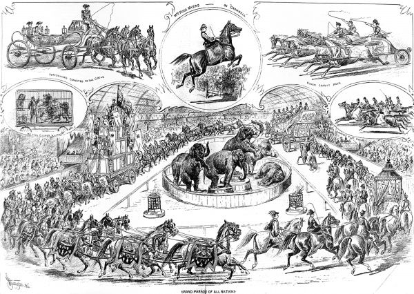 Illustration showing a number of scenes from 'Myers Great Hippodrome' circus of 1879