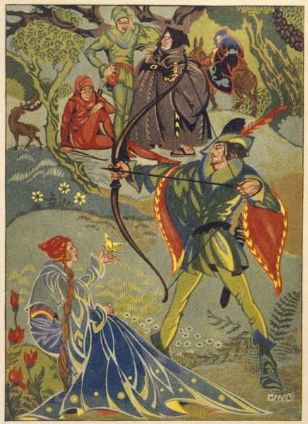 Maid Marian joins Robin Hood and his Merry Men. This scene shows Robin, Marian, Friar Tuck, Will Scarlett and Little John. Is the mysterious figure in the background the Sheriff?