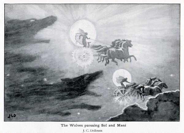 The wolves Skoll (repulsion) and Hati (hate) pursue Sol (sun) and Mani (moon) across the skies ; if they should catch them, the world will be plunged again into darkness