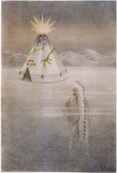 Sacred Otter, a Blackfoot hunter, dreams of a great tepee, 'crowned with a colour like the gold of sunlight', belonging to Es-Tonea-Pesta: Lord of the cold weather