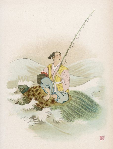 The legend of Urashima Taro, a humble fisher-lad, resembles that of Rip van Winkle : he is carried by a tortoise to the Dragon's Palace where he lives with the Princess for ages