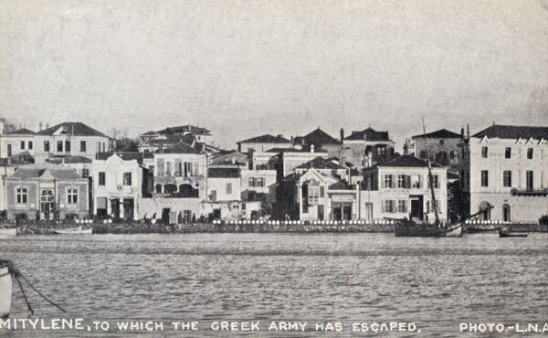 Mytilene, Island of Lesbos, Greece, to which the Greek army, had fled in twenty Greek ships after the Turkish Army retook possession of Izmir on 9 September 1922. Date: 1922