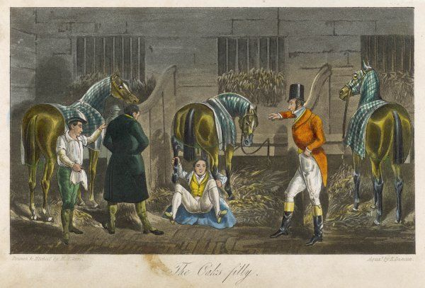 English eccentric John Mytton (1796-1834) sits under a horse's rump and holds onto her hind legs. The other horses in the stable appear perturbed - but not the humans