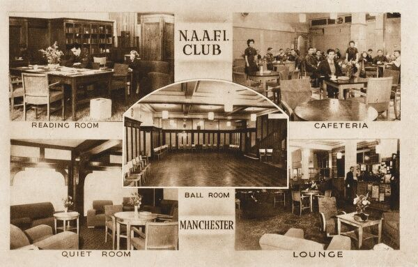 Views of the N.A.A.F.I. Club at Manchester, including inset views of the interior including the Reading Room, Quiet Room, Lounge, Ballroom and Cafeteria