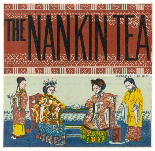The label of the Nankin Tea Company depicts two Chinese ladies taking tea, attended by servants
