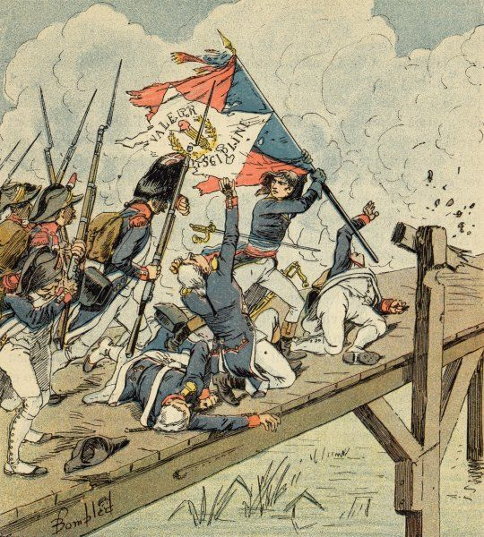 During the Italian campaign, Napoleon leads his men to victory at the bridge of Arcola