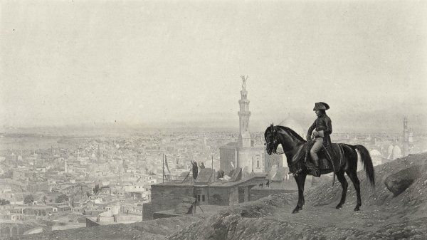 Napoleon, at Cairo during his Egyptian campaign, goes out riding all by himself, and stops on a hill to look at the city, while on a distant rooftop Egyptians pray