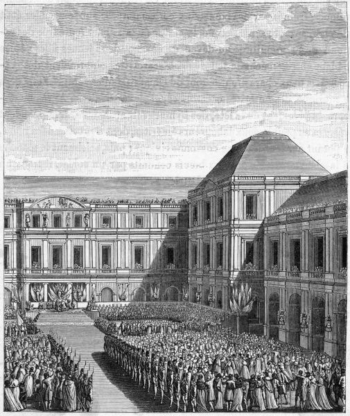 After the treaty of Campo Formio is signed in October, Napoleon is feted at the palais national du Directoire, Paris