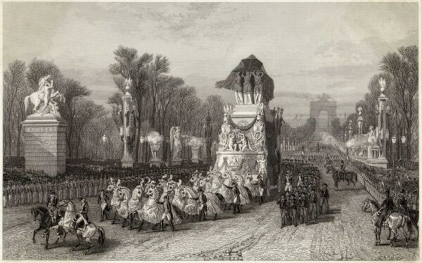 NAPOLEON I His ashes are brought to Paris and a procession takes them down the Champs Elysees which is lined with soldiers